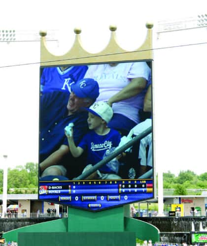 The scoreboard at Kauffman Stadium 'crowns' the Kansas City Royals winners! Photos by Larry Shiflet.