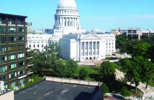 The Wisconsin State Capitol building in Madison was completed in 1917 for $7.25 million. It has the distinction of being the only state capitol building on an isthmus.